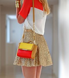 Colour blocking minus the gold glitter skirt Fashion Mode, Look Fashion, Womens Fashion, Fashion Trends, Fashion Bags, Ladies Fashion, Street Fashion, Looks Chic, Costume