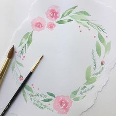 Painting more roses 🌹 Simple Watercolor Flowers, Watercolor Flower Wreath, Green Watercolor, Easy Watercolor, Flower Art, Watercolor Paintings, Watercolor Sketch, Watercolors, Wreath Drawing