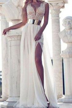 Chiffon Plunging Neck Sleeveless White Maxi Dress WHITE: Maxi Dresses | ZAFUL