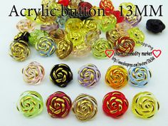 200PCS pearl acrylic rose  FLOWER button 13 MM sweater CRYSTAL buttons clothes findings A-016 $4,47