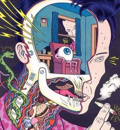 Charles Burns (American, b., USA) - Dope Comix All Marijuana Issue, 1984 Mixed Media (also used for French Metal Hurlant Cover) Art Inspo, Kunst Inspo, Inspiration Art, Art And Illustration, Psychedelic Art, Psychedelic Experience, Trippy, Art Bizarre, Pop Art Vintage