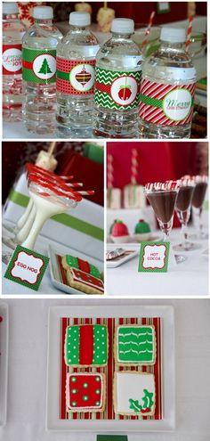 Make your water bottles festive!  Christmas ideas