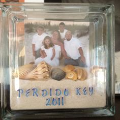 """Beach in a Jar""! This glass block came from Hobby Lobby. Fill it with sand, shells & pictures and VOILA!!!"
