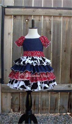 Girls Cowgirl Dress Western Dress Denim Dress by GrammiesNook