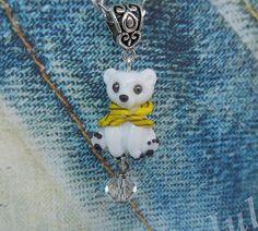 White bear Bear cub Pendant bear Glass bear Jewelry от Julaglass