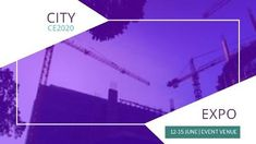 A creative expo event video template. A purple video background with city expo included.