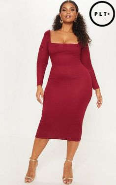 9cf28d71a4f PrettyLittleThing Ribbed Square Neck Long Sleeve Midi Dress