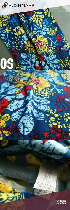 "Lularoe OS Leggings Blue Floral BNWT OS Lularoe leaf print leggings. Whimsical, nature inspired print with blue background. I have a really similar print with black background. Never worn. Smoke fee home. PRICE FIRM UNLESS BUNDLED due to fees.   Search ?erc for ""ablossombee"" LuLaRoe Other"