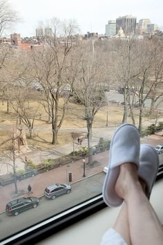 Relaxing in our room at @Four Seasons Hotel Boston overlooking the Public Gardens and Boston Common!