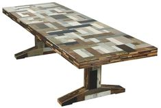 One of the first design of the Dutch designer Piet Hein Eek: the scrapwood table. He only used scrapwood to make this table, which makes this table unique! Furniture, Recycled Wood Table, Beautiful Dining Rooms, Table, Piet, Deco Furniture, Dining Room Table, Furniture Design, Piet Hein Eek