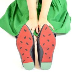 Watermelon Painted Soles  •  Free tutorial with pictures on how to paint a pair of painted shoes in under 30 minutes || Paint the soles of a pair of shoes