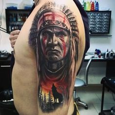 Done by Nikolay, tattooist at Tattoo SPB (St. Red Indian Tattoo, Native Indian Tattoos, Indian Girl Tattoos, Indian Tattoo Design, Native American Tattoos, Tattoos 3d, 4 Tattoo, Wolf Tattoos, Cover Tattoo