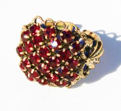 60′s Red Glass & Brass Adjustable Ring.  www.intovintage.co.uk