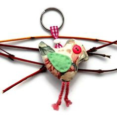 Retro Bird Keyring Bag Charm in pink floral  vintage fabric £5.50