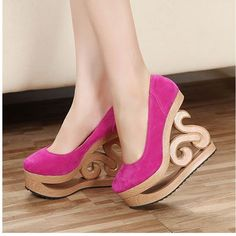 NEW Arrival Women's Sretro Unique Hollow Out Wooden Wedge Heel High Heels Shoes Funny Shoes, Cute Shoes, Me Too Shoes, Awesome Shoes, Dream Shoes, Crazy Shoes, Weird Shoes, Unique Heels, Shoe Boots