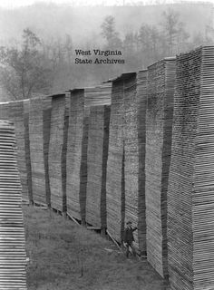 Man standing beside tall stacks of lumber, Meadow River Lumber Company, Rainelle, WV