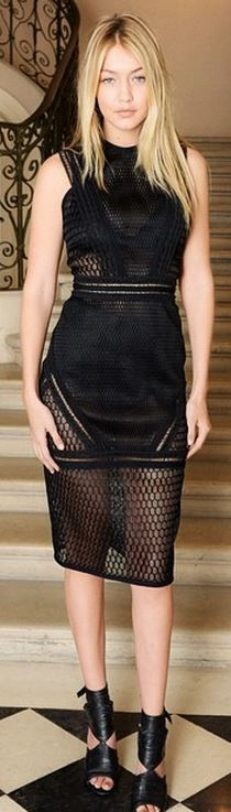 Who made Gigi Hadid's black lace dress and cut out shoes?