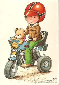 LÁMINA * NIÑO CICLISTA  * MARY MAY Sarah Kay, Comic Pictures, Cute Pictures, Mary May, Bunny Nursery, Kids Scrapbook, Little Boy And Girl, Forest Fairy, Holly Hobbie