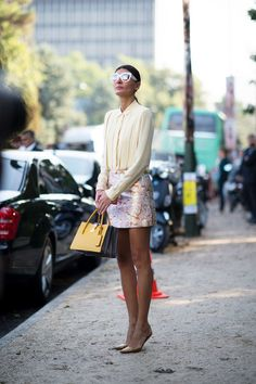 Giovanna Battaglia wearing a 60s style brocade mini at Paris Fashion Week Spring 2015 #pfw