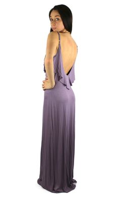 Ruffled Ultra Low Back Maxi Dress  Lavender  elfsacks