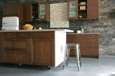 Semihandmade Flatsawn Walnut Slab and Walnut Shaker Ikea Kitchen