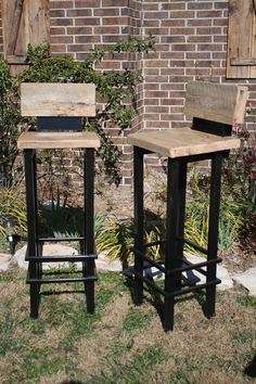 "Your Custom Made 24"" - 36"" Rustic And Reclaimed Barn Wood And Metal Bar Stool…"