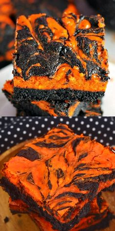 Halloween Swirl Cream Cheese Brownies have a layer of rich, dark chocolate brownie topped with a layer of orange cheesecake then swirled together for a spooky treat.  These are sure to be a perfect dessert treat for everyone at your Halloween party! | www.persnicketyplates.com #halloween #brownies #halloweenbrownies #dessert #halloweendessert #easyrecipe #halloweenparty