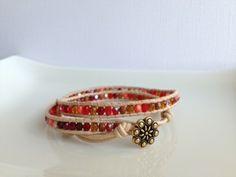 coral - sea - leather wrap bracelet - gold round button - www.bellamink.com