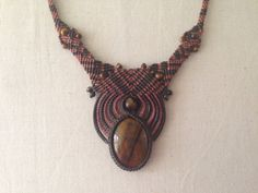 Tigers Eye/Micro Macrame Necklace/Tigers Eye by tfmmacrame on Etsy