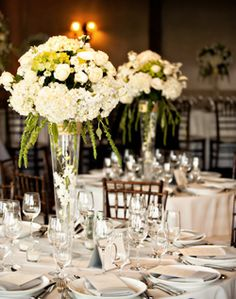 White Centerpieces and Reception Decor