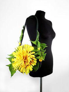 Felted Bag DANDELION Handbag Art Purse wild Felt by filcant, $169.00