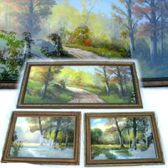 3-PIECES LOT ANTIQUE ORIGINAL ANDREW GUNDERSON SIGNED PASTEL Chalk ART PAINTING LANDSCAPE $1299 ... we sell more VINTAGE and ANTIQUES PAINTINGS at http://www.TropicalFeel.com