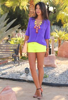 Such fun brights. J Crew blouse & shorts.