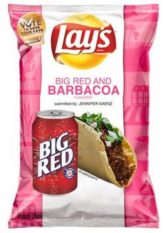 Big Red & Barbacoa Chips - The submission period for the latest Lay's Do Us a Flavor contest is over, but that didn't stop one San Antonian from putting a puro spin on the famous chips. Lays Potato Chip Flavors, Lays Chips Flavors, Lays Potato Chips, Chips Brands, Food Names, Weird Food, Barbacoa, Crunches, Chicken Recipes