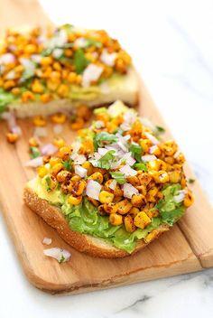 Chipotle Roasted Corn Avocado Toast. Summer corn roasted with Smoked Paprika, Chipotle and black pepper and layered over Avocado Toast. Vegan Avocado Recipe.| VeganRicha.com