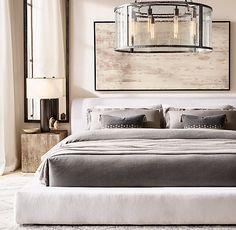 Trendy Bedroom Design Ideas With Goose Feather Neutral Bed Linen, Black Bed Linen, Slipcovered Headboard, Restoration Hardware Bedroom, Dispositions Chambre, Bed Linen Design, Bedroom Layouts, Bedroom Ideas, Bedroom Decor