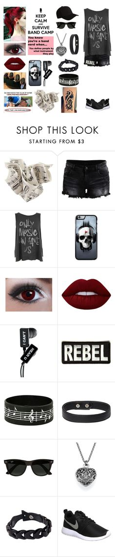 """""""Band camp (RTD)"""" by jeanie-boyd ❤ liked on Polyvore featuring VILA, Junk Food Clothing, Lime Crime, Ray-Ban, NOVICA, NIKE and Flexfit"""