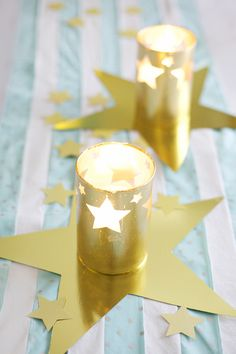 DIY gold leaf hurricane candle holders