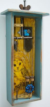 """19 Oak Tree Lane--Junk Drawer Series Encaustic, Found Objects, Ink, and Oil 21"""" x 9"""" x 4.75"""" (HWD) Assemblage Art Kathy Moore Whawi.com"""