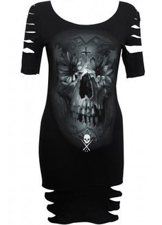 Sullen Flower Skull laser cut dress