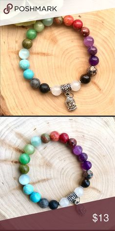Mixed Gemstone Buddha bracelet Gorgeous bracelet made with various gemstones- amethyst, quartz, tiger's eye, amazonite, and others with a silver Buddha charm. ❤️8mm beads, stretch. Fits all wrist sizes! tags: yoga bracelet healing mala beads. Jewelry Bracelets