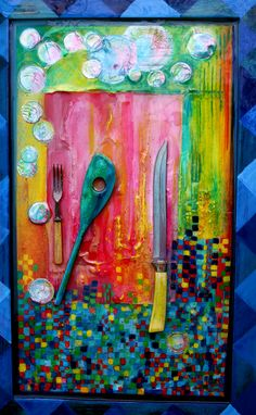 By Janice Kitson. Mixed media, textured, found object, resin collage painting. Find Objects, Cutlery, Reuse, Spoon, Steampunk, Mixed Media, Collage, Texture, Wall Art