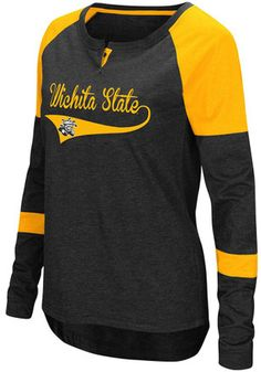Original Retro Brand NCAA Wichita State Shockers Womens Slub V Neck Tee Black Small