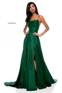 e6b9a04a443 Sherri Hill 52022 Open Back A-Line Gown. Green Prom ...