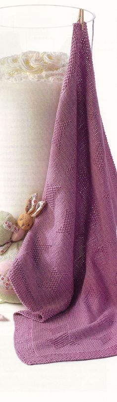 cotton baby blanket with interesting knit and purl stitch pattern Knitting Patterns Free, Free Knitting, Baby Knitting, Stitch Patterns, Free Pattern, Sewing Patterns, Knitting Ideas, Cotton Baby Blankets, Knitted Baby Blankets