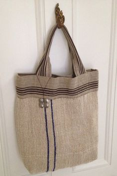 Grain Sack Tote. Shopper. Grey with Blue Stripe. Vintage  Fabric. on Etsy, $125.00