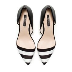 Zara Black and White Combination Heels #watters #wedding #blackandwhite www.pinterest.com/wattersdesigns/
