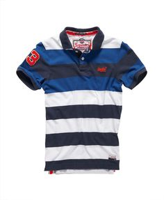 Mens - Double Stripe Hit Polo in Double Voltage Mix | Superdry