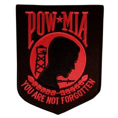 """POW MIA Military Patch (Red and Black) features a black patch with red stitching. Patch measures 4.5"""" x 6"""" and may be sewn or ironed on."""