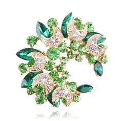 Uniqe Green Diamond Decorated Meniscus Shape Design Alloy Crystal Brooches :Asujewelry.com